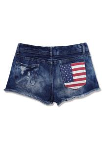 美式搖滾國旗刷破鬚邊短褲S~2L